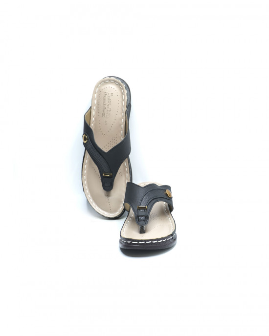 Comfy Fancy Button Slippers - Black