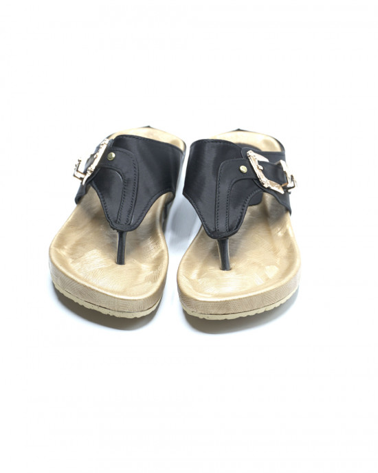 Comfy Buckle Slippers - Black