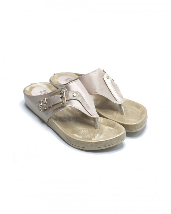 Comfy Buckle Slippers - Beige