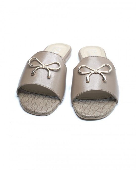 Pretty Bow Embellished Slippers - Light Coffee