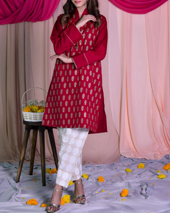 Scarlet screen printed kurta