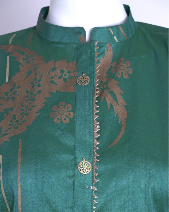 Raw Silk Printed Kurta