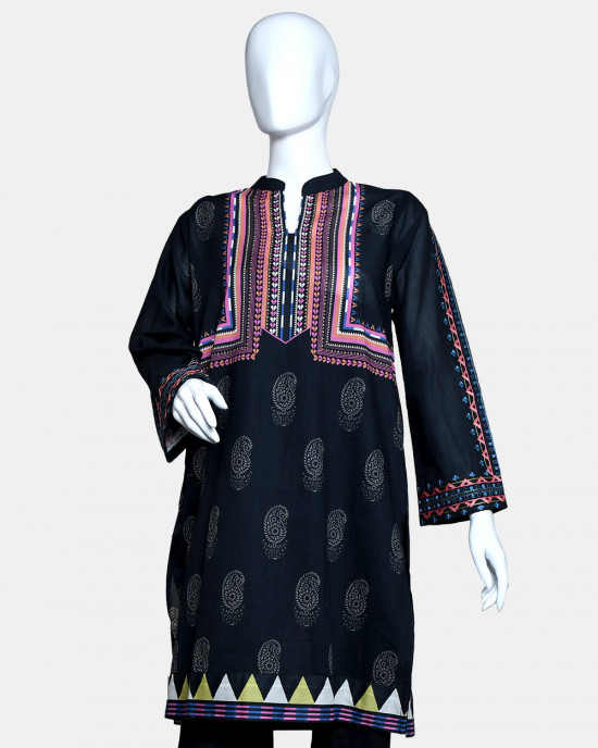 Digital Printed with Embroided Lawn Kurta 40107