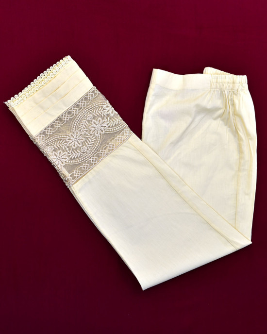 Pintucks & Lace Straight Pants