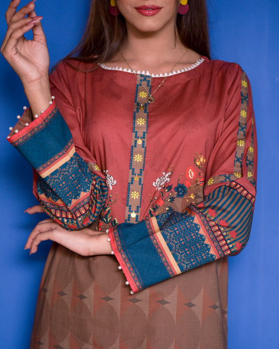Winter Feels Dark Hue Printed Cambric Kurta
