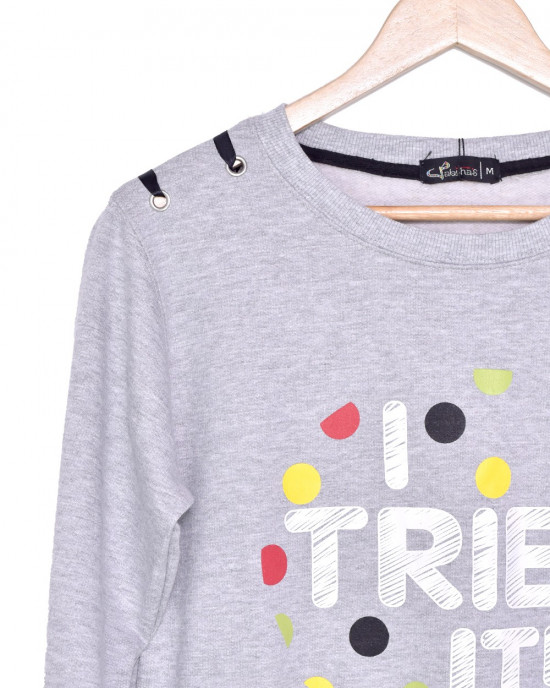 Solid Coloured Sweatshirt With Print On Front