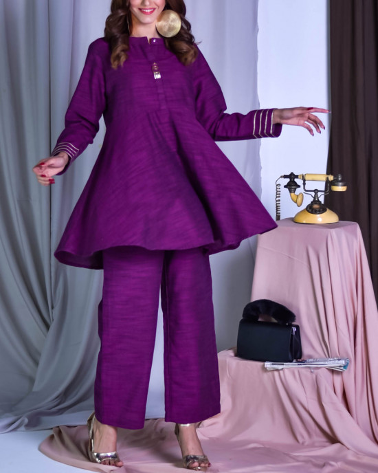 Rolling Purple (Kurta With Pants)