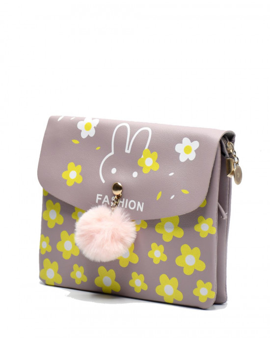 Bunny Design Pouch With Floral Print