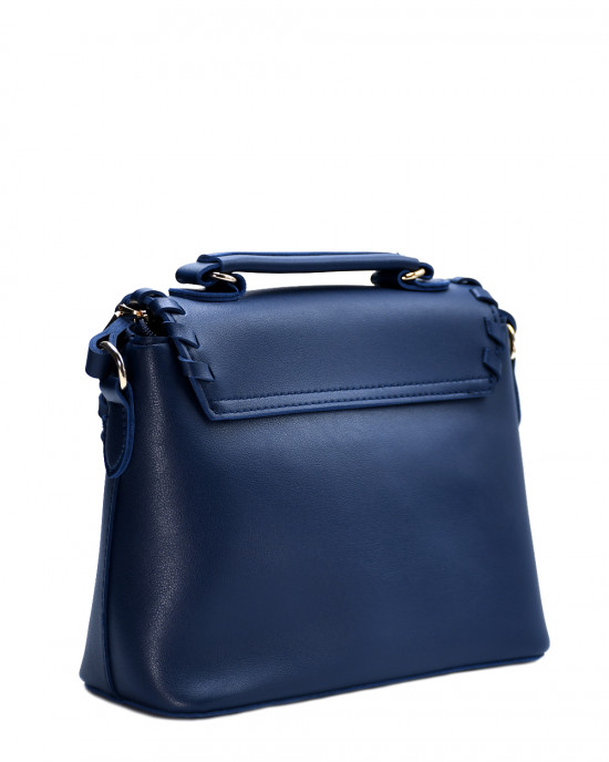 Overlap Design Turnlock Handbag