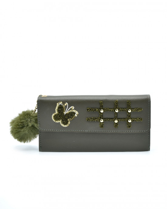 Butterfly Hopscotch Thread & Sequence Wallet - Green