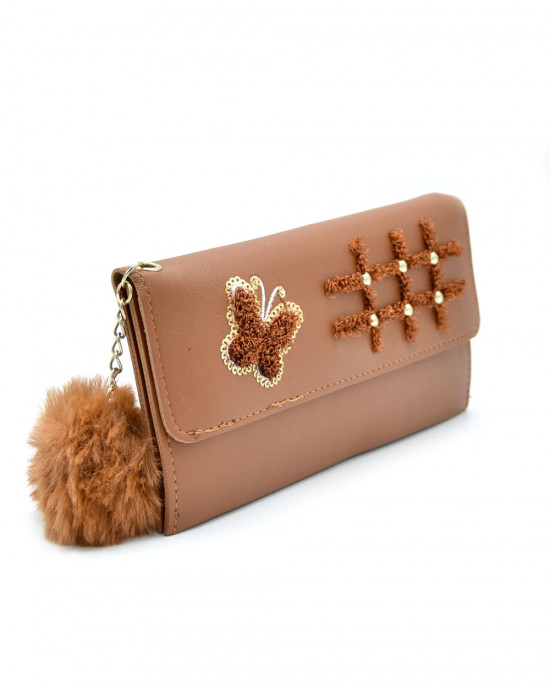 Butterfly Hopscotch Thread & Sequence Wallet - Coffee