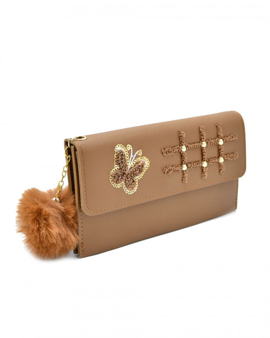 Butterfly Hopscotch Thread & Sequence Wallet - Brown