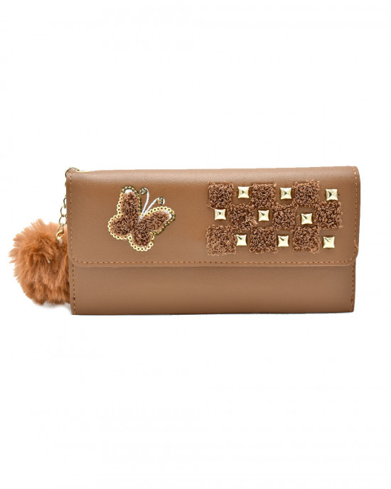 Butterfly Design Thread & Sequence Wallet - Brown