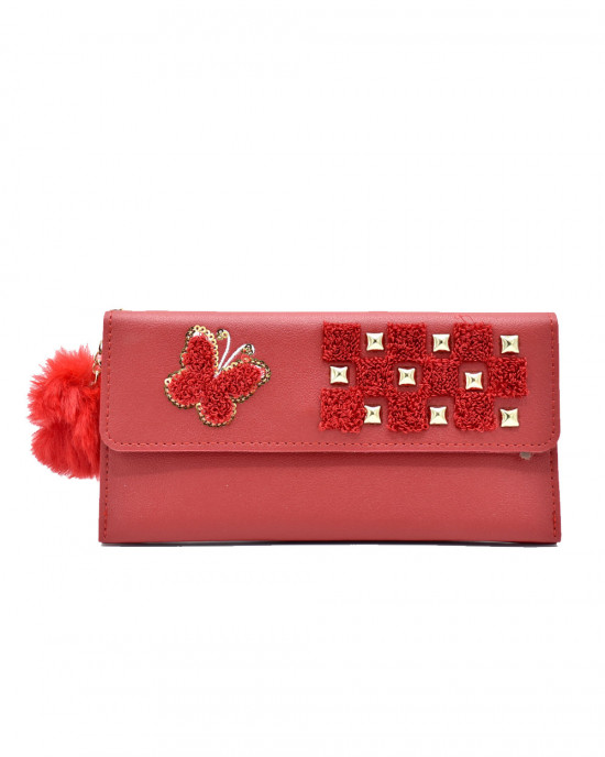 Butterfly Design Thread & Sequence Wallet - Red