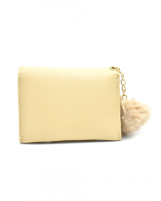 Faux Leather Wallet With Pom Pom - Gold