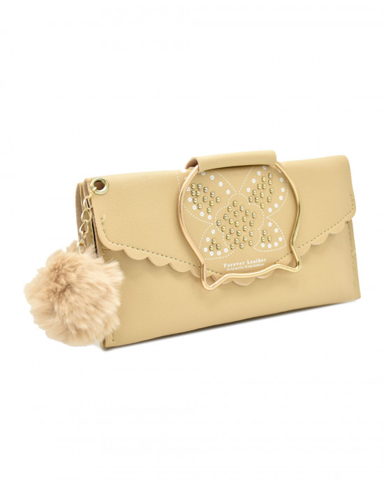 Kitty Face Functional Wallet - Brown
