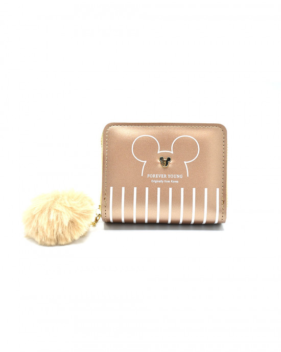 Fun Mickey Mouse & Semi Stripe Wallet - Gold