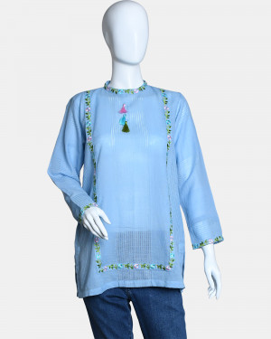 Woven Embroidered Top