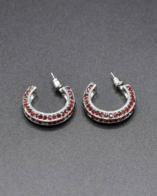 Studded Red Hoop Earrings