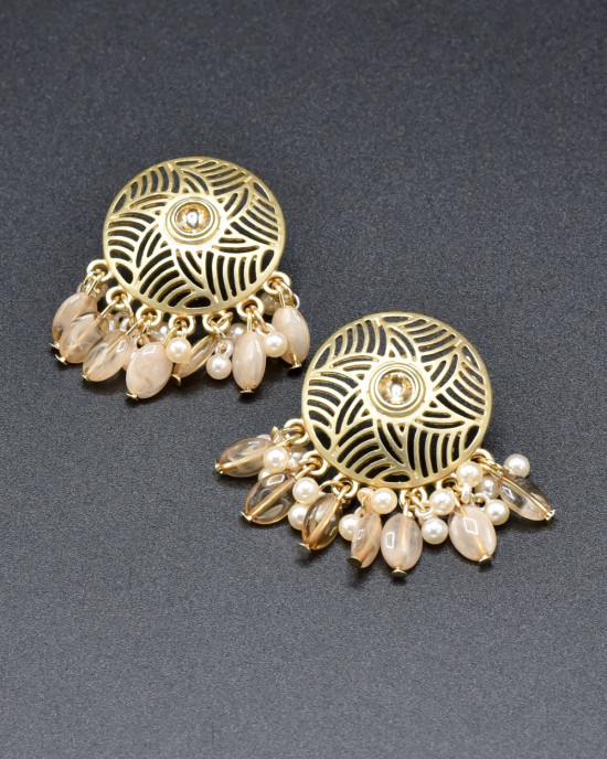Champagne Round Classy Earrings