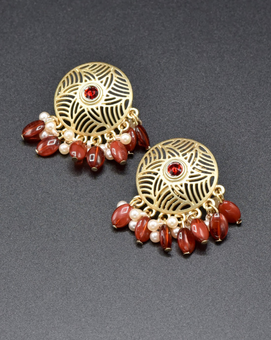 Red Round Classy Earrings