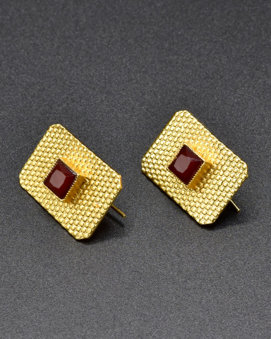 Red & Gold Textured Earrings