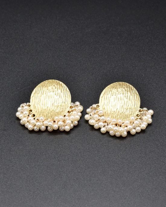 White & Gold Statement Earrings