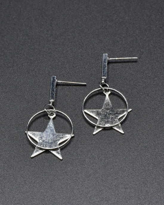 Silver Star Dropped Earrings