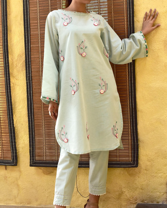 Classy Chambray Embroidered 2 Piece