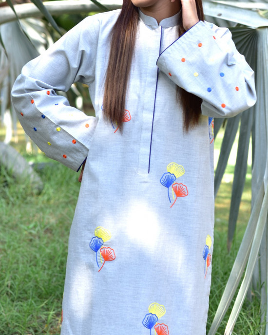Fun Cloud Gray Chambray Embroidered 2 Piece