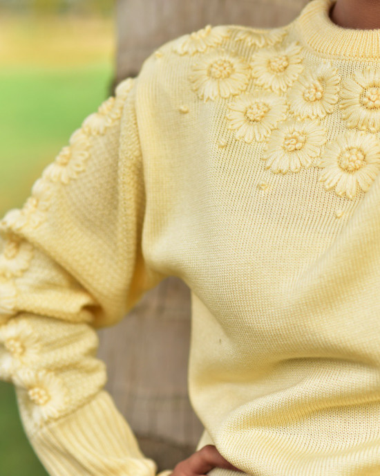 Flower Embellished Sweater